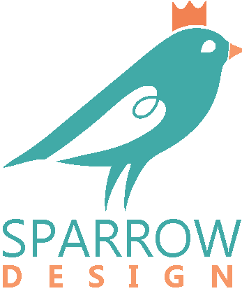 Sparrow Design Logo, It's a blueish sparrow with a orange crown and the title of sparrow design