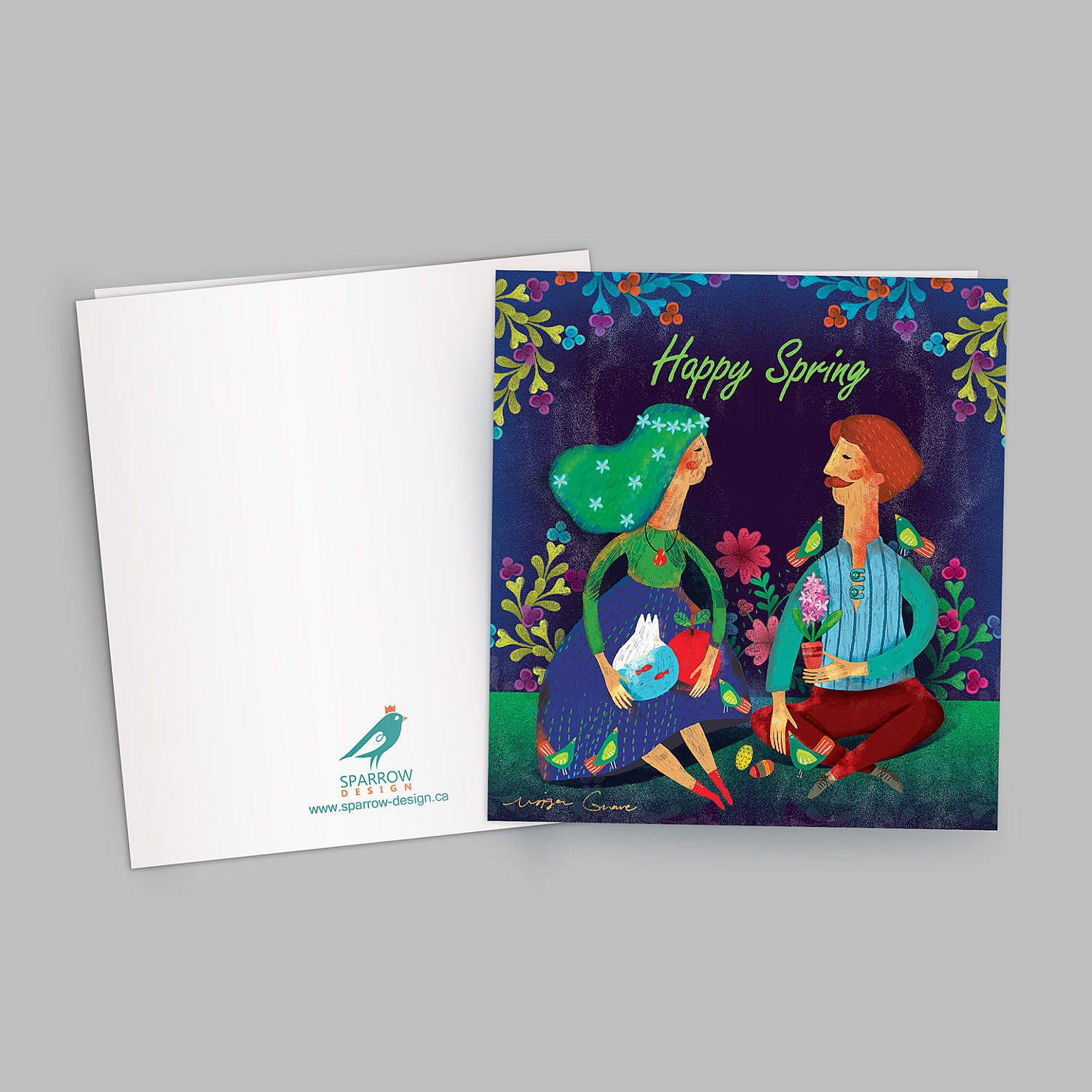 The image includes an illustrated greeting card which is designed to celebrate Spring. The image shows two lovers inside a garden and they are surrounded with flowers and birds. The male lover holds flowers and the female one holds a tank of water which contains goldfishes and also she has a red apple. In the background there are colorful flowers. The background is blue and green.