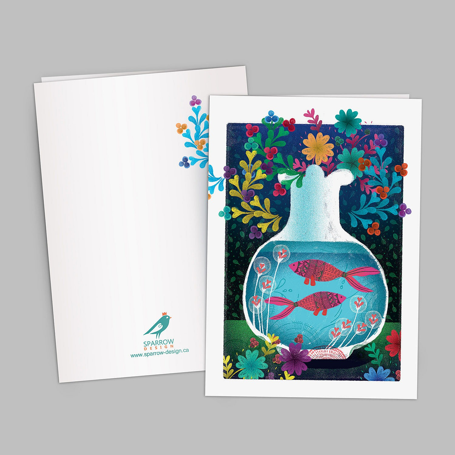The image includes an illustrated greeting card which is designed to celebrate Spring. The image shows two goldfishes inside a water tank. Both fishes are decorated with floral patterns. In the background there are colorful flowers. The background is blue and green.