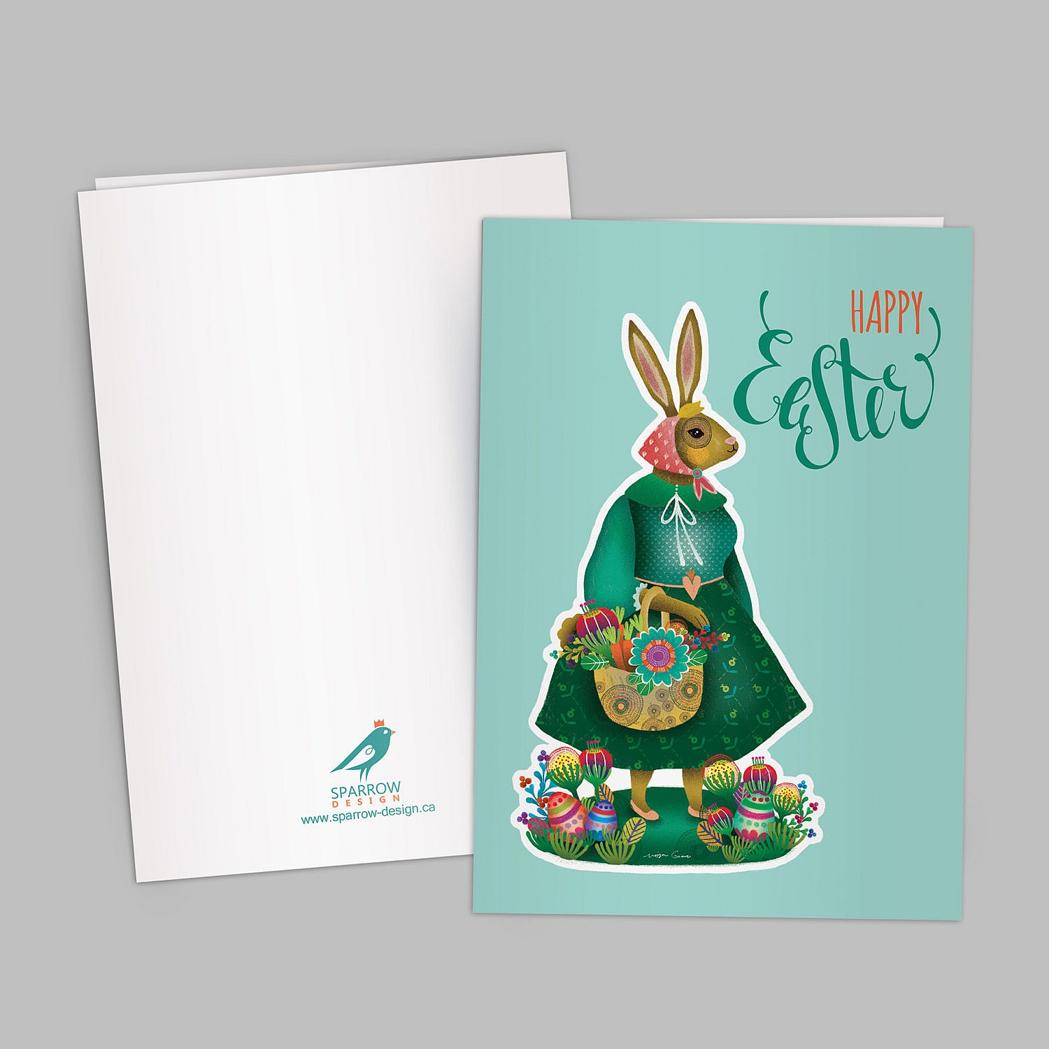 A green and lovely Easter greeting card with bunny theme, showing a cute bunny inside colorful and beautiful flowers and eggs. Also, a typographical title of Happy Easter is included in the design.