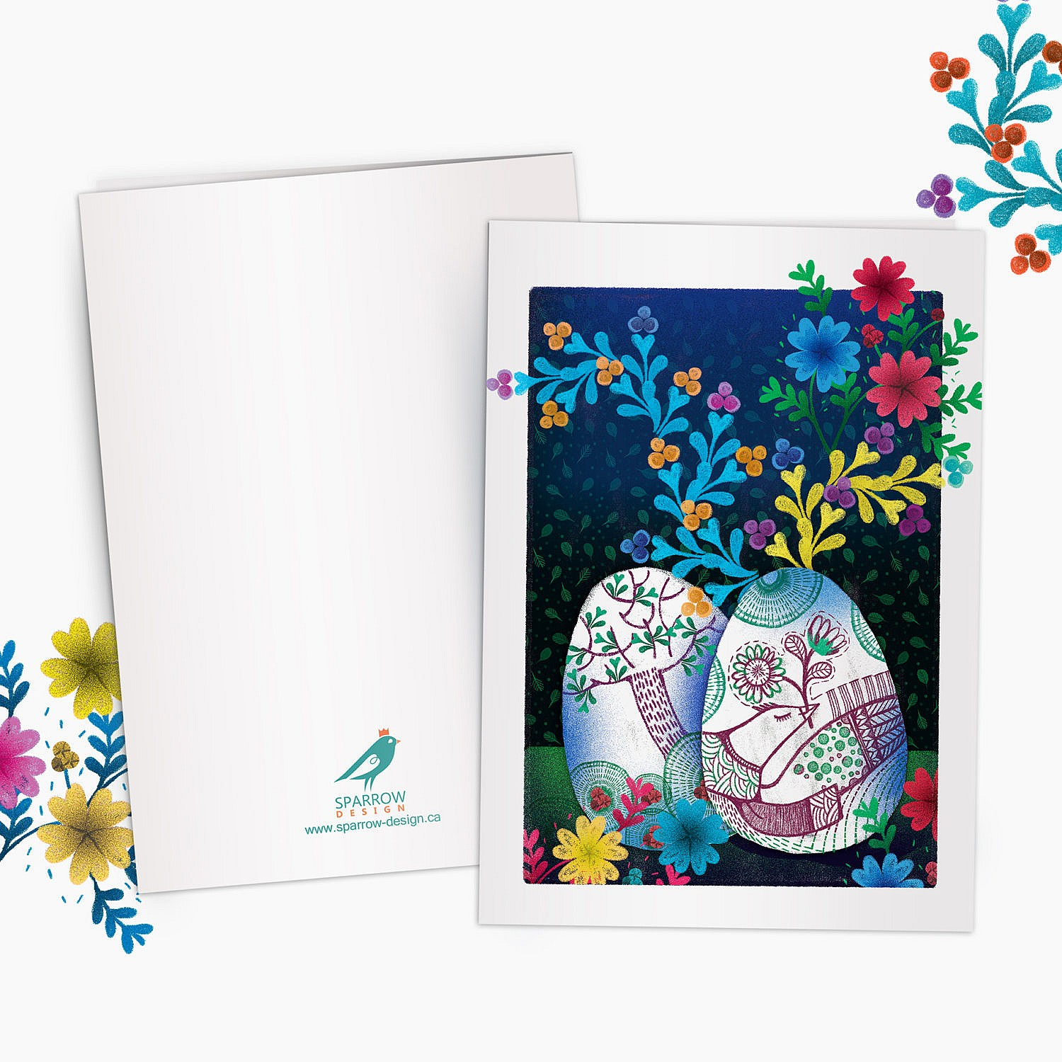 The image is showing a spring scenery. Two painted eggs are in the foreground. The painting on eggs is showing a bird. On the background there are colorful flowers. This greeting card is perfect for nowruz festival.