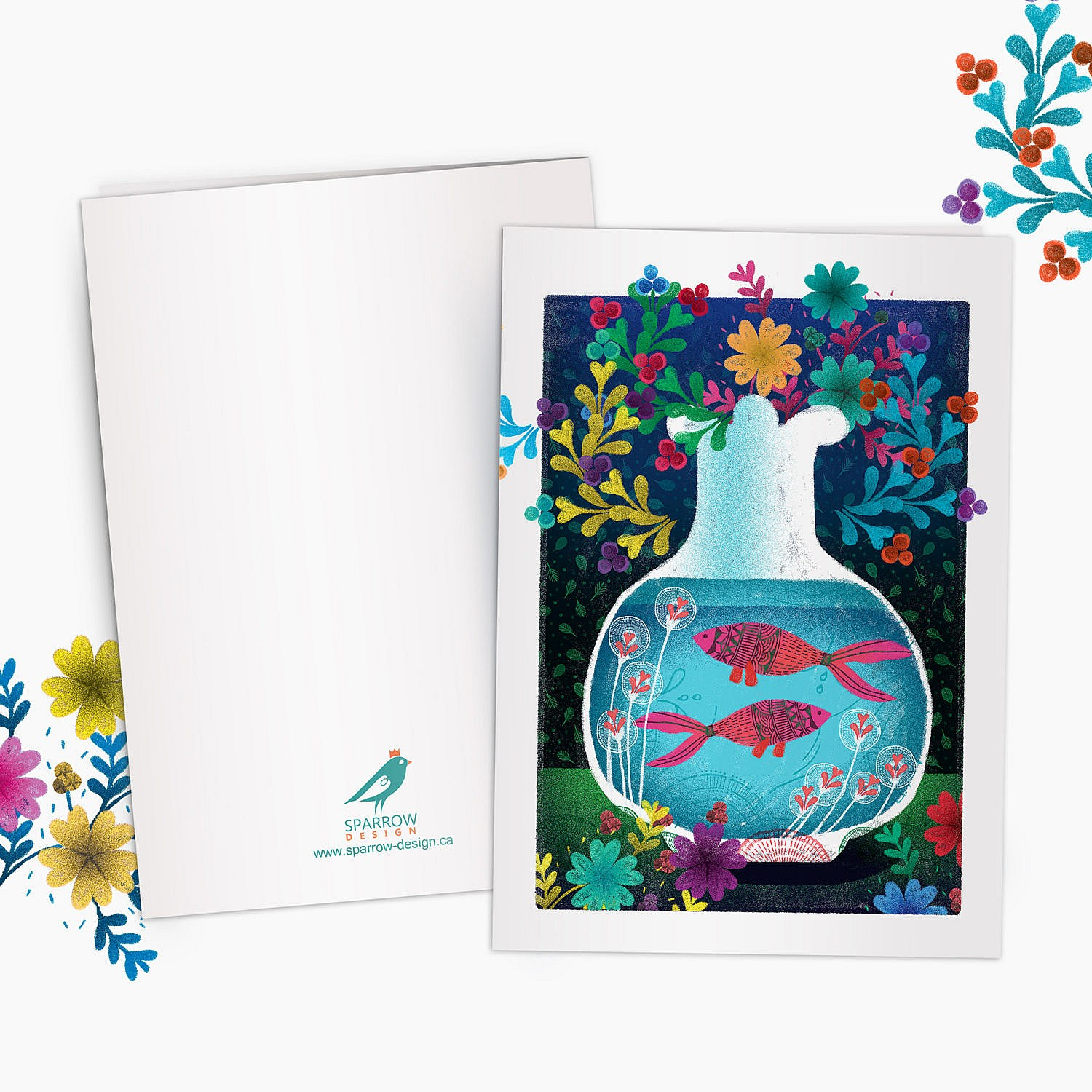 The image is showing a spring scenery. Two beautiful goldfish are in the foreground. On the background there are colorful flowers. This greeting card is perfect for nowruz festival.