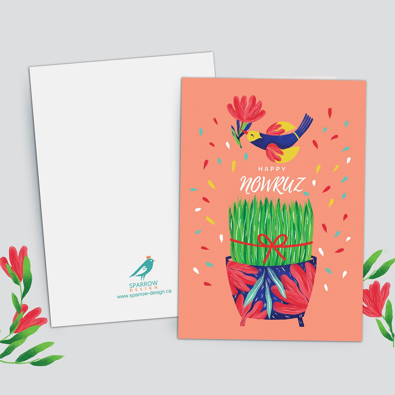 A greeting card for Nowruz 1400. Showing a bowl of (sabze) green herb and a bird flying above it. Color are light pink, yellow, green, red, and blue. Altogether, showing the spring theme.