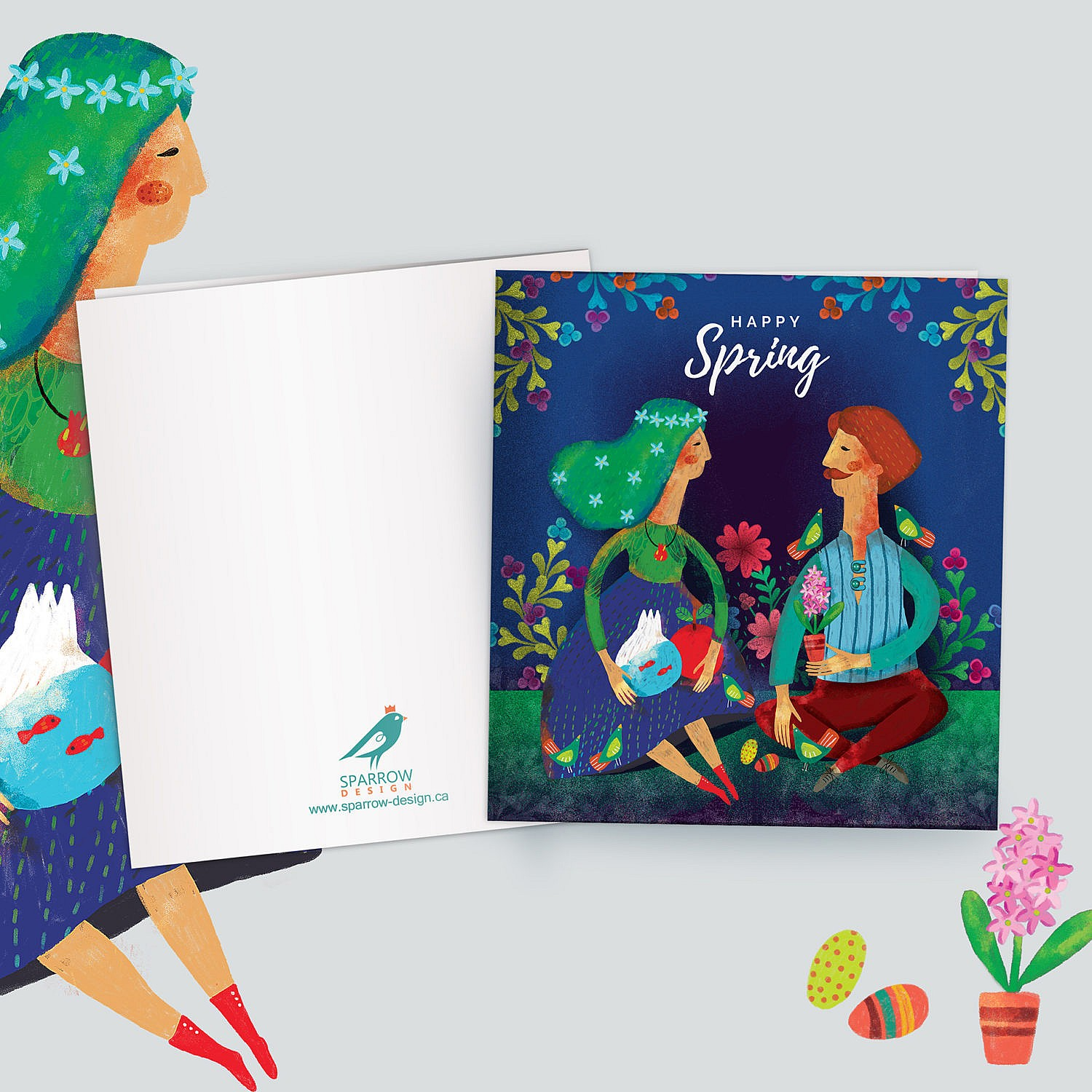 A greeting card to celebrate spring. Showing two persons while they are in the middle of forest. One of them(female) holding an apple and bowl that inside it there are two little red fishes. The other one (male) is holding a flower. There are flowers in the background. The card is also good for nowruz festival. The main colors are green and blue. With colorful flowers.