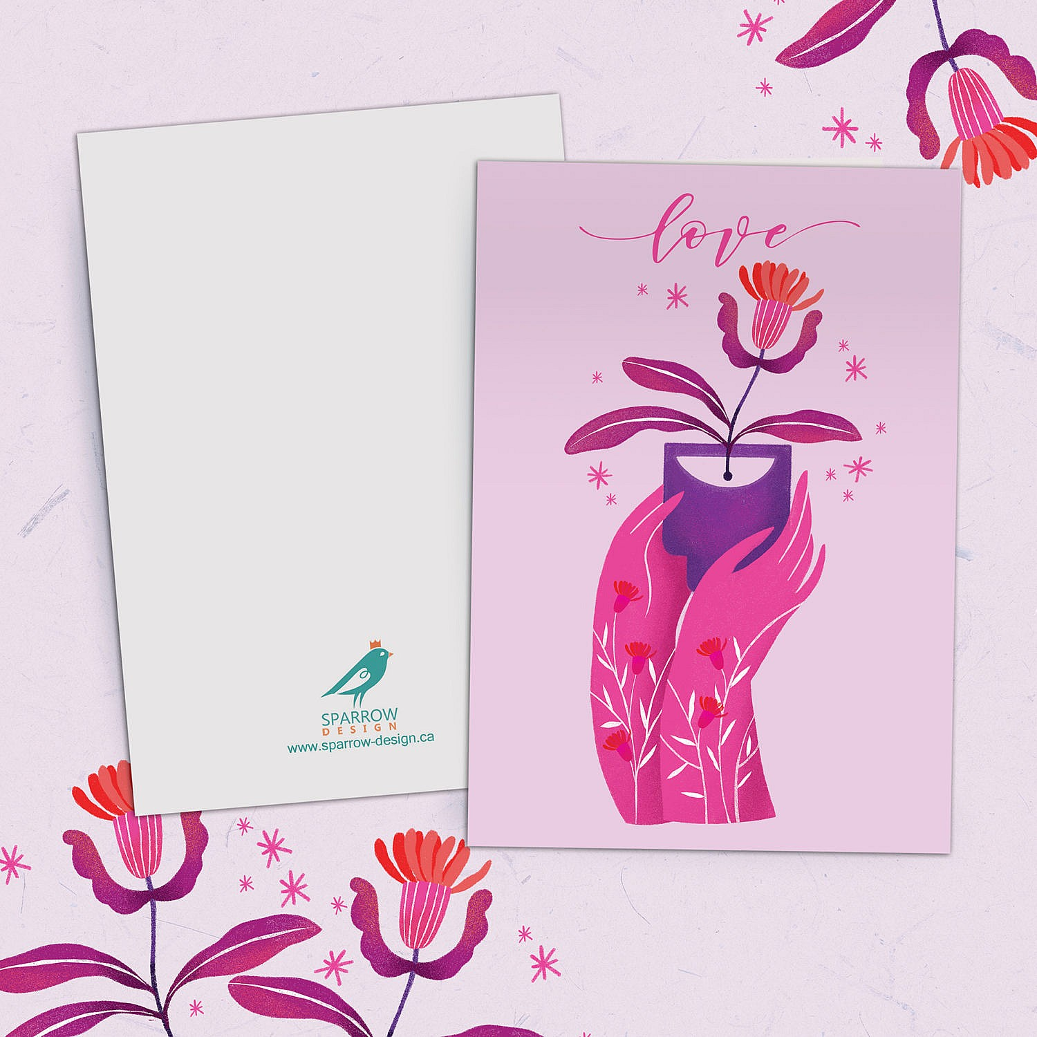 showing a lovely valentine's card. two hands are offering a beautiful flower. The illustration is mostly pink.